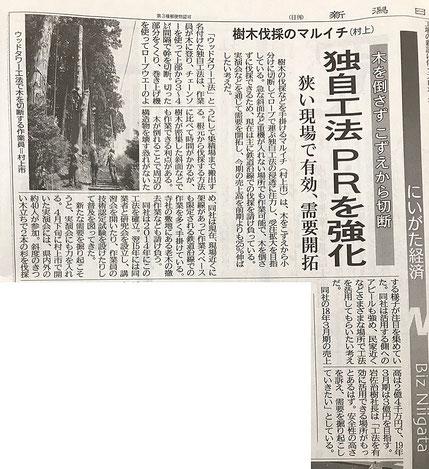 2018年5月30日 新潟日報経済面「樹木伐採のマルイチ(村上)」