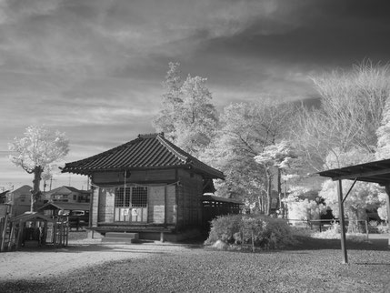infrared camera took a photo of Japanese shrine