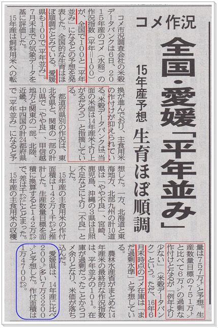 愛媛新聞 2015.8.7掲載