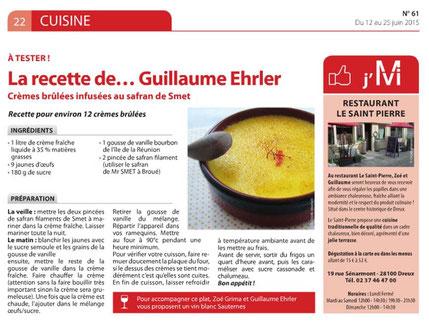 Crème brûlée au safran De Smet par Guillaume Ehrler