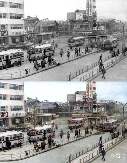 修復・色再現 作業前→作業後比較 1964(昭和39)年10月5日、東京五輪開幕5日前の金沢駅前