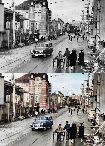 修復・色再現 作業前→作業後比較 1960(昭和35)年2月「百万石通り」と呼ばれる金沢の目抜き通り
