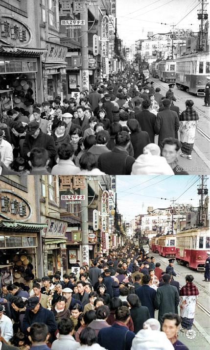 修復・色再現 作業前→作業後比較 1959(昭和34)年1月2日の初売りで賑わう金沢市片町