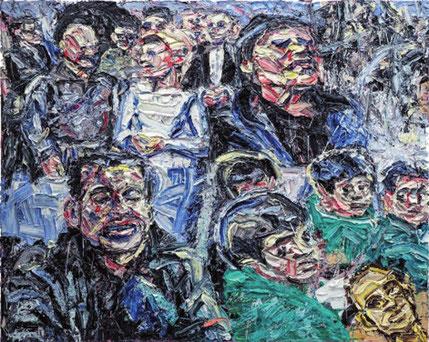 Harald Kille: In Afghanistan: Ursula von der Leyen bei der Truppe/In Syrien: Pressesprecherin in Homs, 2018/2019, Öl auf Baumwolle, 160 x 200; aus der Serie Bewegung, Stillstand, Rückschritt, Rückfall, 2018/2019