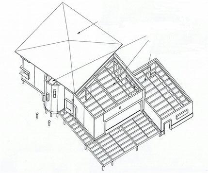 charpente traditionelle; charpente industrielle; couverture en zinc; couverture en tiuile