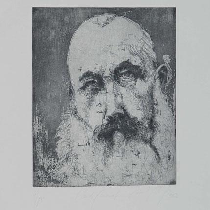 Druckgrafik Portrait Claude Monet