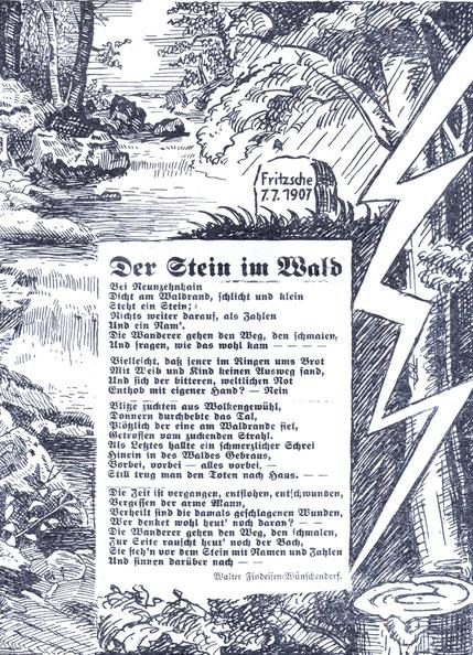 BIld: Teichler Wünschendorf Erzgebirge Gedenkstein