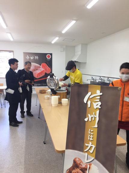 JAみなみ信州さんで「市田柿カレー」を給食スタイルで。