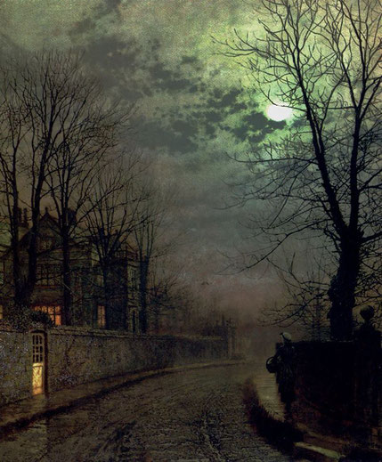 """John Atkinson Grimshaw, """"Un vicolo di Headingley, Leeds"""" (1871)"""