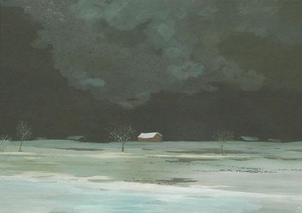 """Martin Guido Becker, """"Winternacht"""" 2016, Öl/Lwd, 50/70 cm"""
