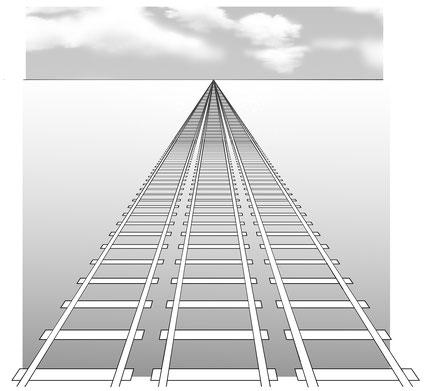 見かけ上は、どの線路も同じ1点に向かって進んでいるように見える