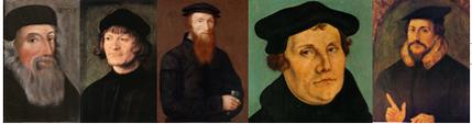 Les grands réformateurs; de gauche à droite : John Wyclif, Ulrich Zwingli, Guillaume Farel, Martin Luther, Jean Calvin.