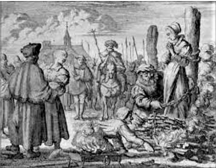 Jeanne Bocher est brûlée vive en Angleterre, au début du règne d'Edouard VI, suite à sa condamnation pour hérésie. La jeune femme est anabaptiste et antitrinitaire. Jeanne Bocher refuse de se rétracter et  reste fidèle à ses convictions dans les flammes!