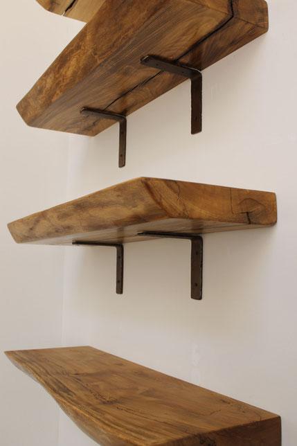 полка деревянная навесная настенная стиль лофт металлическая