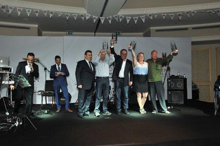 Siegerehrung des Ion Ressu Memorial Doubles. In der Mitte Götz Hildsberg & Kimon Papachristopoulos