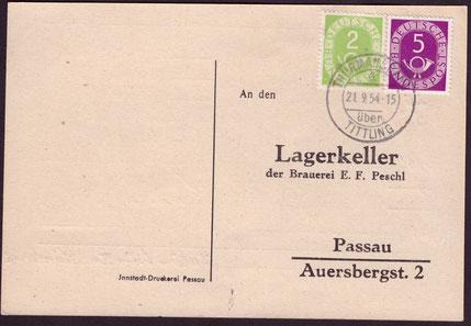 MiF aus Posthornmarken in der Aufbrauchfrist bis Dezember 1954 an Herrn Peschl...