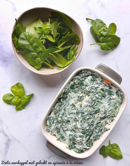 Zoete aardappel met gehakt en spinazie à la crème