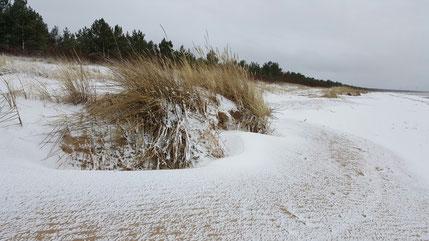 Lettland, Westküste, Survivalstrand, Schnee am Strand, Bernstein Strand