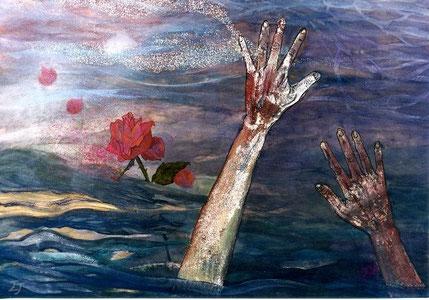 Aquella rosa (あの薔薇 Anoo bara). Pigmento mineral, 51 x 73 cm, 2003.