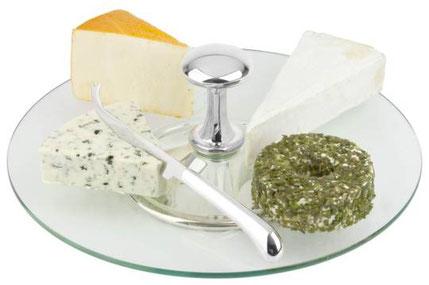 Glas Käseplatte mit Käsemesser, Servierplatte für Käse, Glasplatte für Käse