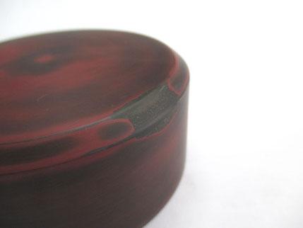 茶筒の蓋 中塗り研ぎ一回目