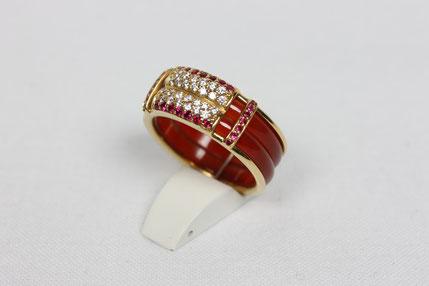 Ring Anfertigung Rubine Brillanten Top Wesselton Feines Weiß ct