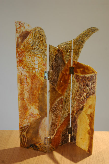 Abstract mixed media - Collage of Various materials on perspex - by Anne Berendt