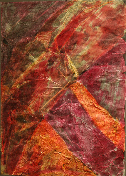 Abstract composition - Collage of  Various Types of  Paper  and watercolour  - by Anne Berendt