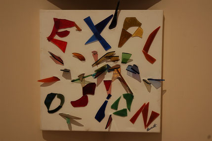 Explosion - Broken coloured glass through and on canvas - by Anne Berendt