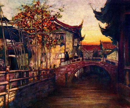 Un canal bien tranquille. Peinture de Mortimer Menpes (1855-1938)