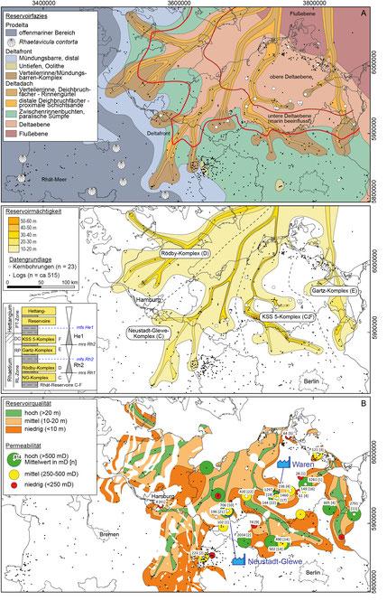 Karten der Reservoirfazies, -mächtigkeit und -qualität am Beispiel des sogen. Contorta-Sandsteins, der bereits an den Standorten Neustadt-Glewe und Waren erschlossen wurde; verändert aus Franz et al. (2018).