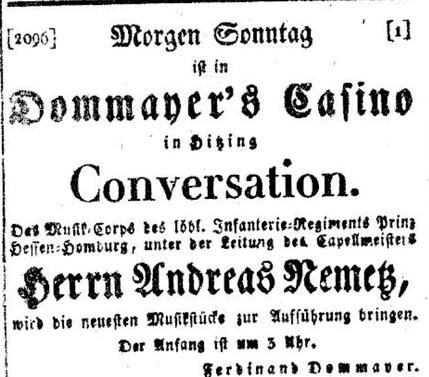 """Ankündigung des Auftritts vom 11.9.1836 in der """"Wiener Zeitung"""""""