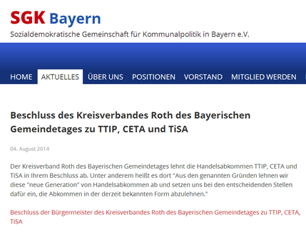 Beschluss des Kreisverbandes Roth des Bayerischen Gemeindetages zu TTIP, CETA und TiSA