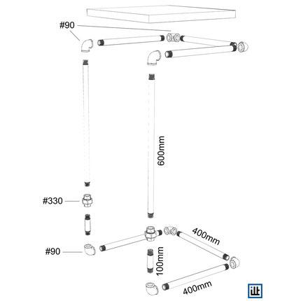 DIY Bauanleitung Beistelltisch Tisch aus Temperguss Rohren und Fittings