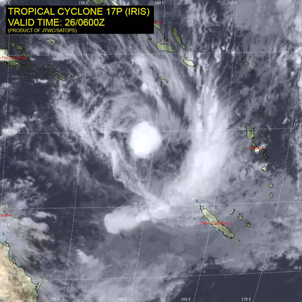 Satellite image of Tropical Cyclone Iris in the south west Pacific Ocean, 26/03/018. Image from JTWC