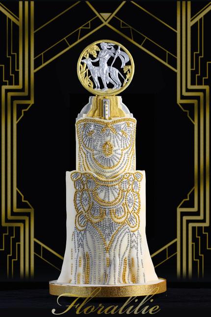 Art Déco Gatsby Cake | Floralilie Sugar Art
