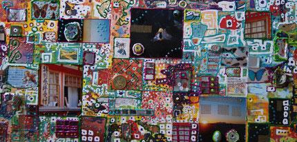 Voyage pigmenté Asie, Technique mixte sur Toile, 20 x 50 cm, 2010 © Jonathan CHOIN