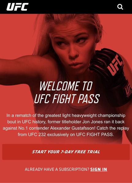 Screenshot der UFC App.