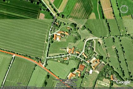 Das Dorf Ahausen als Satellitenbild