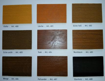 Farbtonkarte Kreidezeit Holzlasuren
