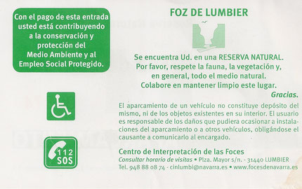 Ticket de stationnement / Aparcamiento Foz de Lumbier