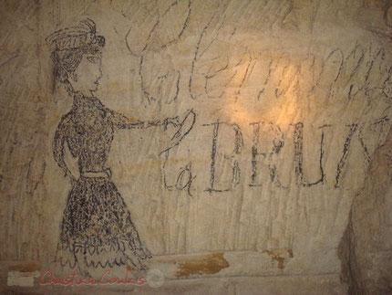 Clémence la Brune, dessin au crayon gras dans une carrière de Citon-Cénac