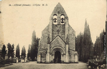 Eglise Saint-André de Cénac. 1913. Collection J-P Couthouis