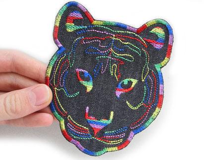 Bild: Tiger Bügelbild Regenbogenfarben, XL Tigerkopf patch zum aufbügeln, lgbtq