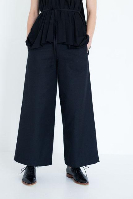 elegant: gerade Hose aus schwarzer Bio-Baumwolle