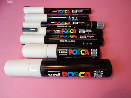Uniball Posca Marker - eine schöne kreidige Optik, die sich nicht beim kleinsten Windhauch in Luft auflöst