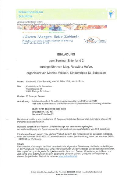 """Einladung zum Seminar """"Entenland 2"""" in der Kinderkrippe St. Sebastian"""