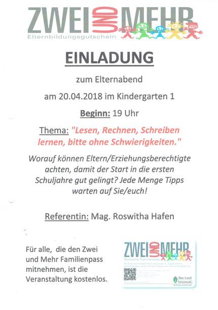 Einladung zum Vortrag im Kindergarten Gratkorn am 20.04.2018.
