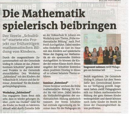 Die Zeitung Meine Woche berichtet von den aktuellen Projekten vom Verein Schultüte in St. Johann ob Hohenburg.