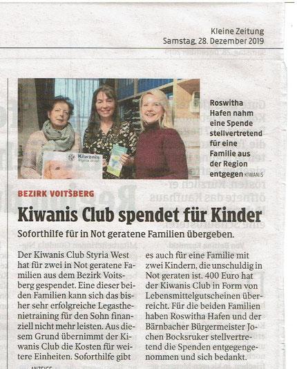 Die Kleine Zeitung berichtet von der Spende durch Kiwanis.